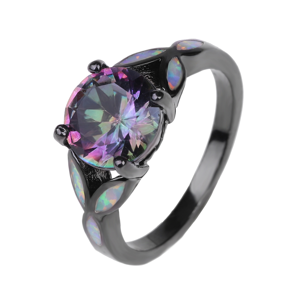 Black Gun Plated Rainbow Cubic Zirconia Fire Opal Rings For Women Hot Sale  Fashion Jewelry Unique