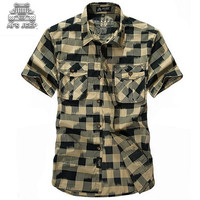 Afs Jeep Camisa Cuadros Hombre Male Shirt Short Sleeve Turn Down Plaid Summer Casual Shirts For