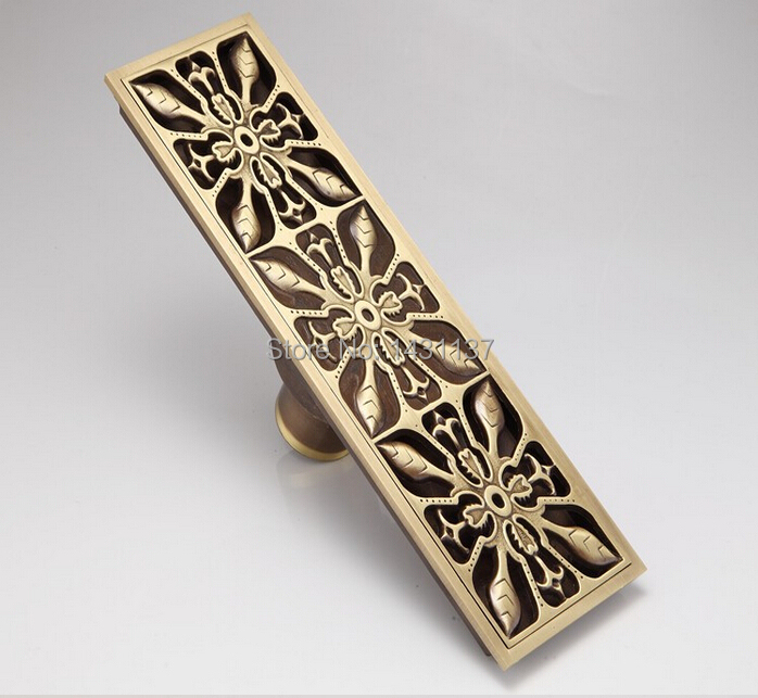 Europe Style Antique Brass Art Carved Brass Floor Drain Cover Shower Waste Drainer bathroom accessories