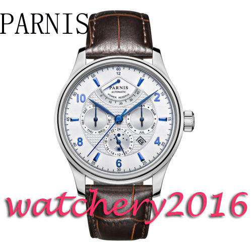 все цены на Parnis 42mm white dial brown Leather Strap blue markers date adjust automatic movement Men's watch онлайн