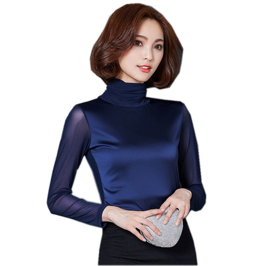 Women Blouses Shirt New Arrivals Autumn long Sleeved Mesh Tops Elegant Slim Turtleneck Shirts Plus Size 3XL Women Clothing