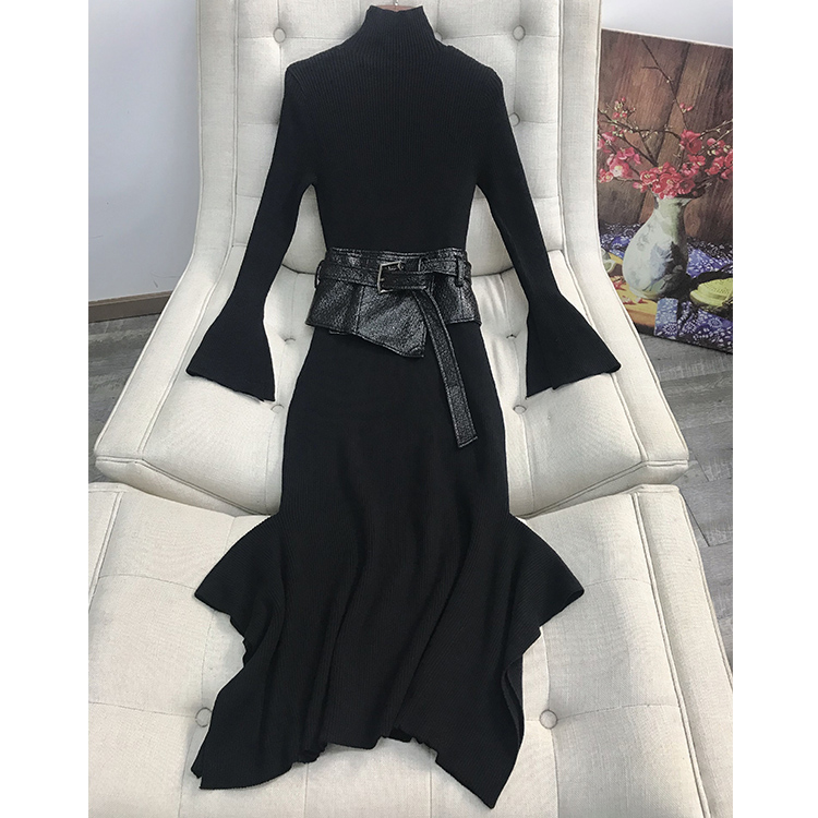 2b4acb2c28a Pulls Moulante 2019 Slim Flare Cavaliers Jersey Femmes Tricoté E6662 Sexy  Manches En Noir Pull Longue Robe Automne D hiver WUWgCp