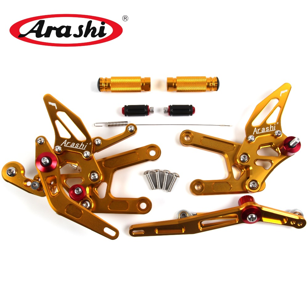 Arashi YZF R6 2017 CNC Adjustable Footrest For YAMAHA R6 2017 Rider Rearset Footpegs Motorcycle Accessories 17