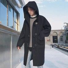 2017 Winter Clothes Men Long Outerwear Woolen Overcoat Loose Trench Cashmere Coat Wool Blends Windbreaker Casual Hooded Jacket