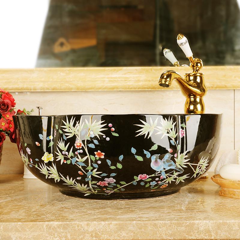 Europe style chinese wash basin Jingdezhen Art Counter Top ceramic basin sink vessel wash basin bathroom sinks (1)