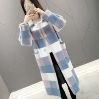 Women Long Knitted Faux Mink Fur Coat Plaid Cardigan Jacket
