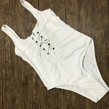 2017 NEW White Black Red Bandage One Piece Swimsuit Strappy One Piece Swimwear Sexy Bathing Suit Vintage Monokini