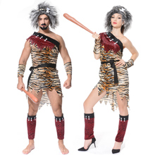 New Adult Men Women Jungle Caveman Cosplay Costume Stone Age Stage Cosplay Costumes Halloween Carnival Party Role Play Costumes
