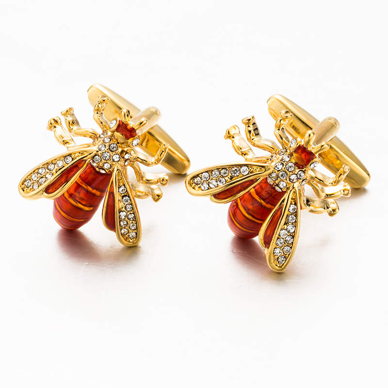 VAGULA Novelty Bee Cuff links Men Jewelry French Shirt Cuff-links Crystal Cufflinks Creative Brass Gemelos 517