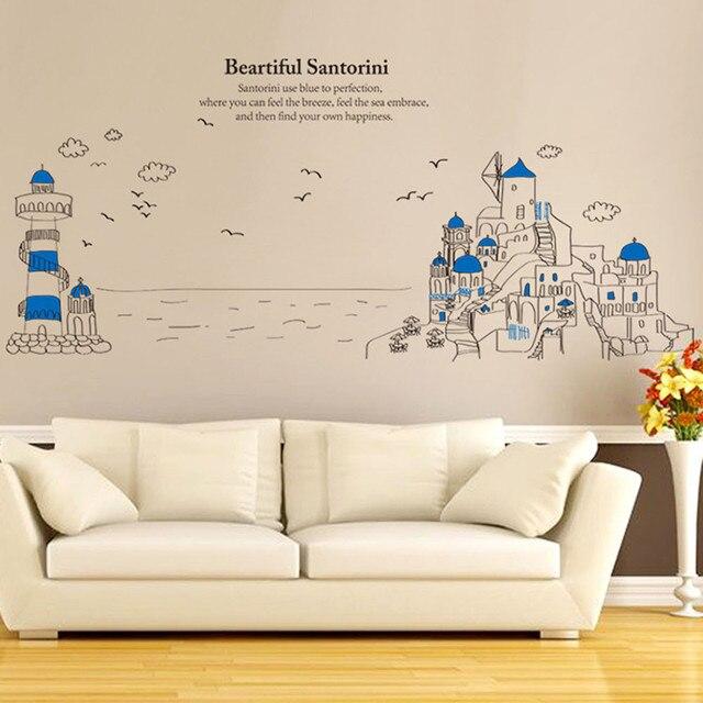 Troisième Génération De Amovible Santorin Belle Paysage Fig Stickers Muraux Pochoirs  Pour Murs Bébé Enfants Chambre