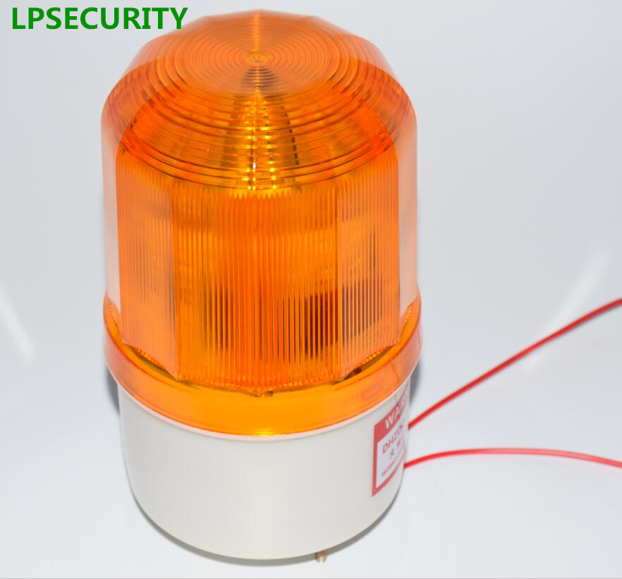 LPSECURITY waterproof outdoor LED lamp beacon red alarm flashing 90dB siren strobe for gsm home alarm system dc 24v electronic red led flashing alarm buzzer siren 100db bj 3