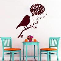 Quote Wall Decals I Love Decal Vinyl Heart Sticker Bird Decor Bedroom Art