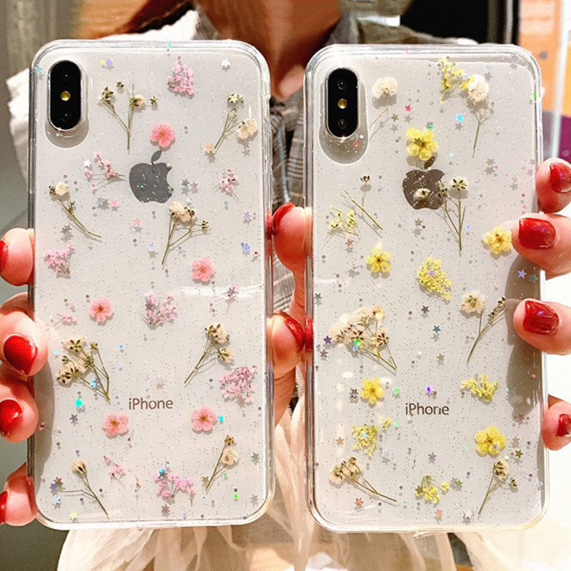 Real Flowers Dried Flowers Phone Case For iPhone X XS XR XS Max 6 6S 7 8 Plus Transparent Glitter beautiful Soft TPU Back Cover