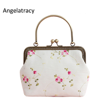 Angelatracy 2018 White Cotton Handbag for Women Floral Mini Bags Girl Coin Purse Embroidery Pink Crossbody Bag