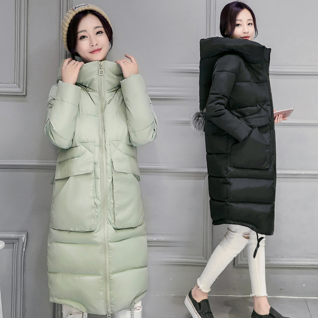 2016 New Winter Down Cotton Loose Solid Long Coat Lady Hooded Cotton Padded Jacket Size Winter Jacket Women Long Down Coat