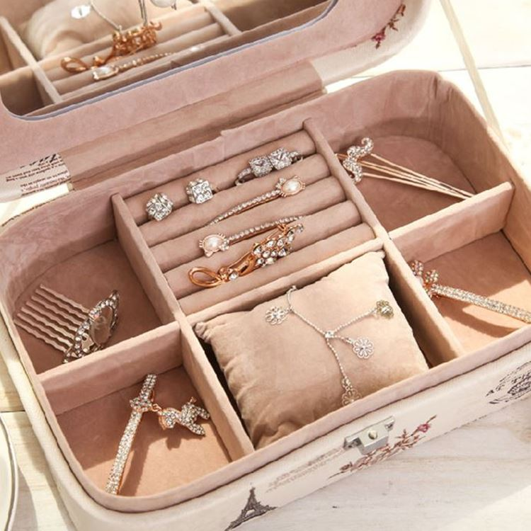 Women Lovely Little Princess European Leather Jewelry Box With Lock Mirror Birthday Gift Ladies Cosmetic Bag
