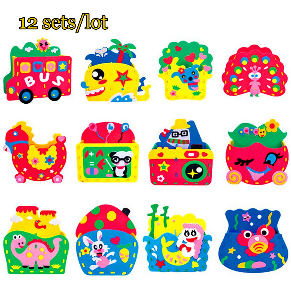 DOLLRYGA 12set/lot DIY EVA Bag Jouet Enfant Art And Kid Craft Toy For Children Knutselen Kinderen Girl Gift Lotes Children Toys