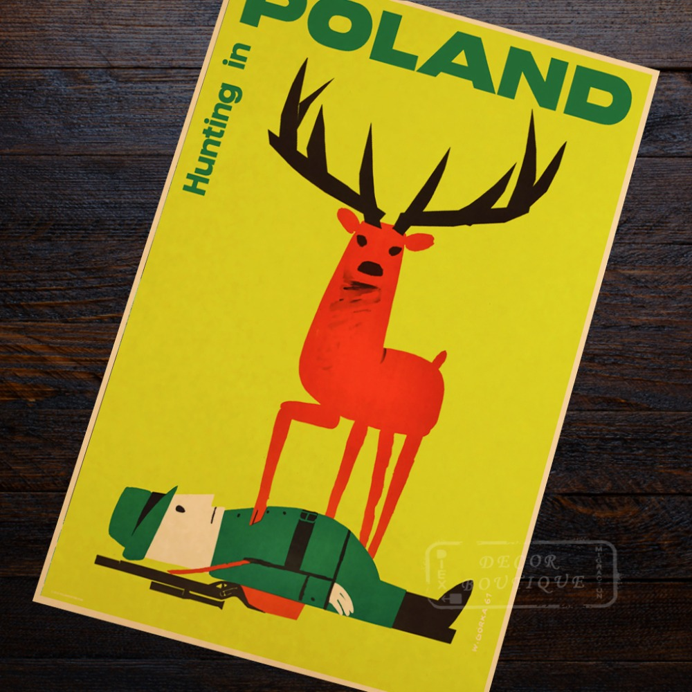 Hunting in Poland c1961 Landscape Travel Retro Vintage Poster ...