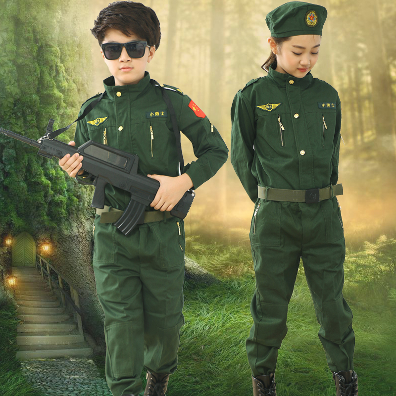 Children's Solider Clothing Army Uniform air force pilots boy girl military uniform special forces uniform field camouflage suit image