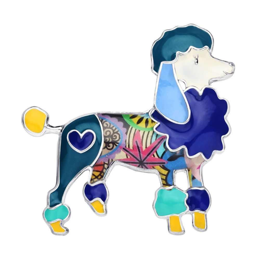 Bonsny Enamel Alloy ดอกไม้ Poodle Dog เข็มกลัดเสื้อผ้าผ้าพันคอสัตว์น่ารักสัตว์เลี้ยงตกแต่งเครื่องประดับ PIN ของขวัญสำหรับวัยรุ่นหญิง
