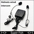Capacete Walkie Talkie Com Fio Assento Traseiro Da Frente Da Motocicleta fone de Ouvido MP3MP4 Wired Capacete Intercomunicador Fone De Ouvido de Áudio Portátil Com CD