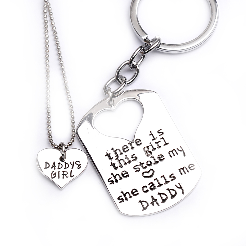 There is this girl she stole my heart she calls me DADDY MOMMY Heart-Shaped Pendant Silver Necklace Keychain Jewelry For Girls