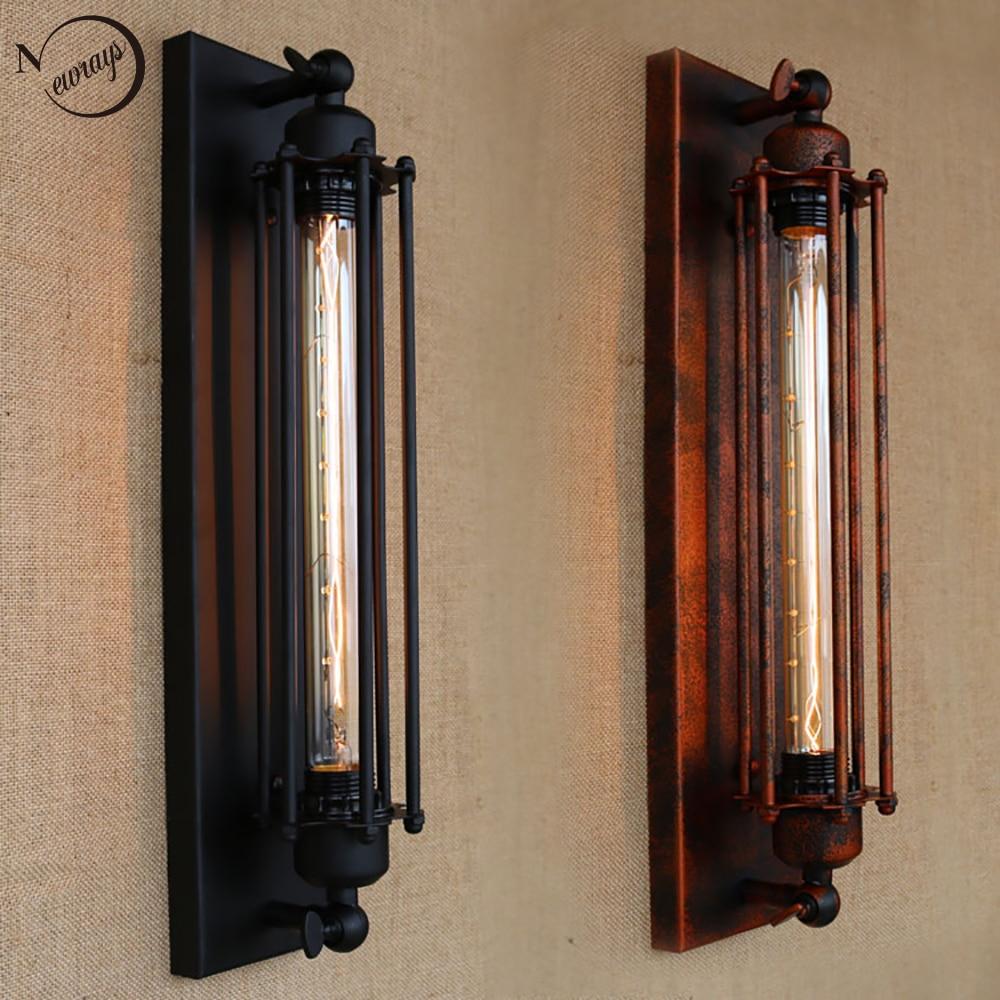 Vintage Antique Retro Black Iron Pipe Wall Lamp E27 For