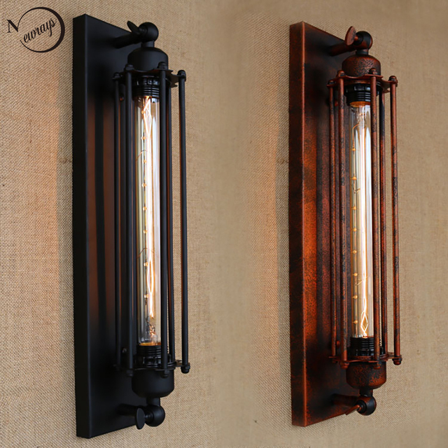 Vintage antique retro black iron pipe wall lamp E27 for hallway ...