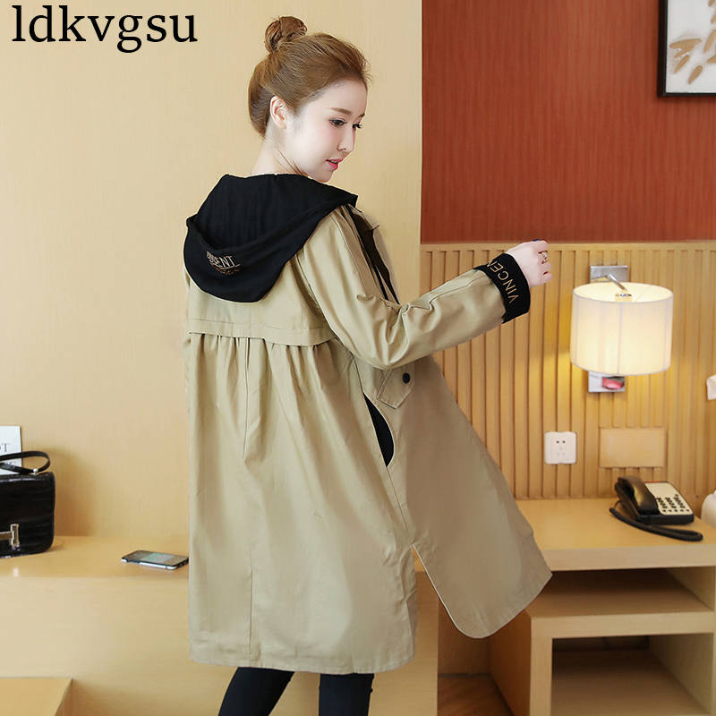 2019 New Windbreaker Female Long Section Spring Autumn Jackets Women Korean Large Size Loose Hooded Casual Coat Ladies V307