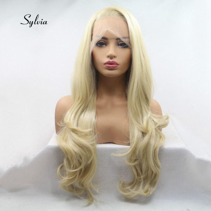 Sylvia pełne koronkowe peruki syntetyczne blond peruka włókno termoodporne do włosów dla kobiet ręcznie robiony naturalne włosy falowane boczne rozstanie w Brak Lace Peruki syntetyczne od Przedłużanie włosów i peruki na AliExpress - 11.11_Double 11Singles' Day 1