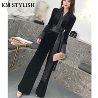 Supermodel High Waist Blue Belt Jumpsuit Female Autumn Winter New Velvet Long Sleeve V neck Wide Leg Pants Slim Black Jumpsuit