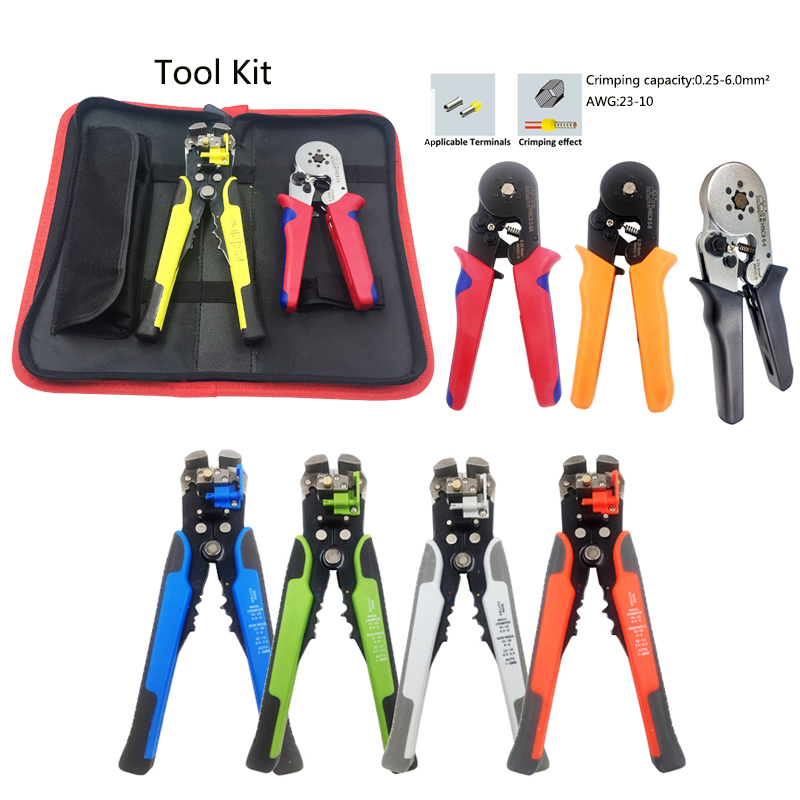 Pliers crimping tool kit multifunctional wire cable stripper set hand tools terminal multi crimper plier tube type terminals 6pcs crimping hand tool set kit cable wirecutter crimping plier replaceable crimping die sets jaws terminal hand tools crimpers