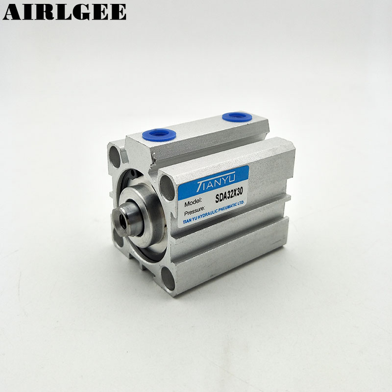 SDA32x30 32mm Bore 30mm Stroke Pneumatic Standard Thin Air Cylinder Free Shipping pneumatic 32mm bore 40mm stroke air cylinder sda 32x40