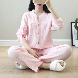 Image 5 - Krepa bawełniana z dekoltem w kształcie litery v piżamy garnitur kobiety jesień cienkie gaza małe stoisko kołnierz z długim rękawem spodnie koreański rozrywka usługi w domu