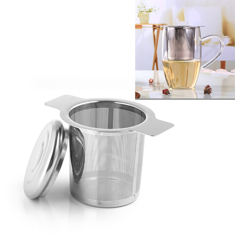 Reusable Stainless Steel Tea Infuser Basket Fine Mesh Tea Strainer With 2 Handles Lid Tea And Coffee Filters For Loose Tea Leaf