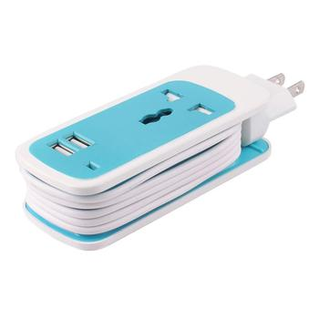 Go2linK 3 in 1 USB Wall Socket with 2 USB Ports Travel Home Charger Adapter LED EU/US/ UK Powercube Power Strip Adaptor image