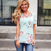 цена на Summer Short Sleeve Women T Shirt Boho Style Floral Print Sexy V Neck Criss Cross T-shirt Casual Tops Tees Plus Size T Shirt