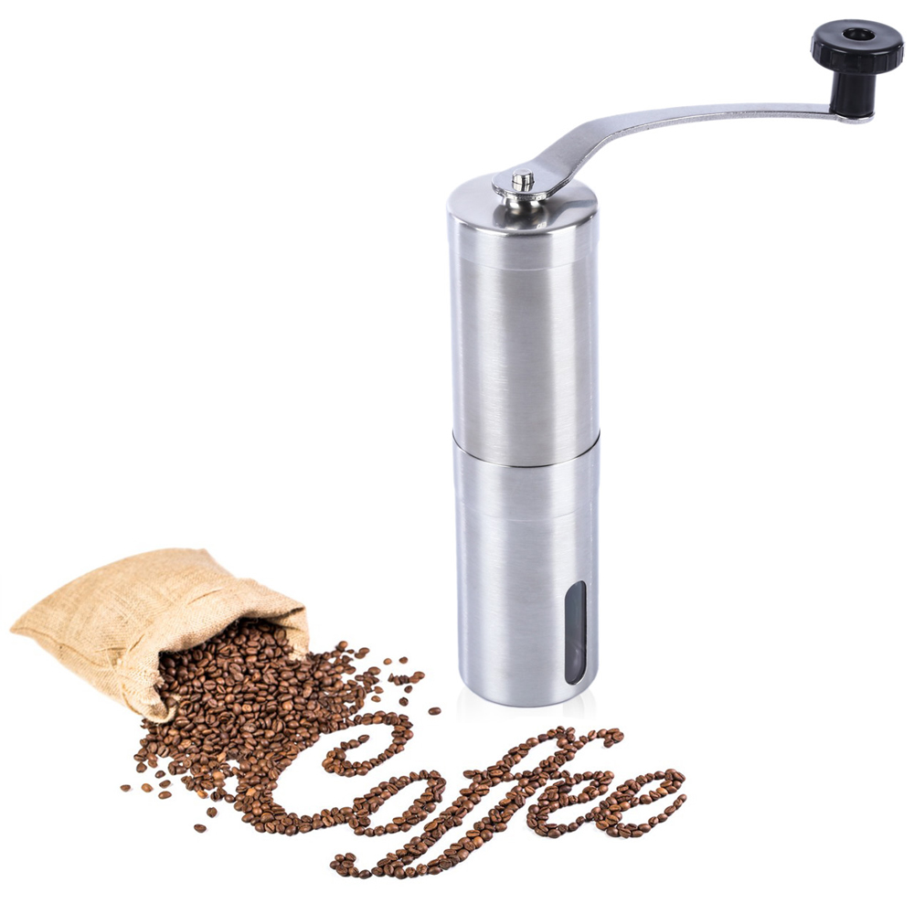 Stainless Steel Burr Coffee Grinder Manual Hand Coffee Maker Burr Corn Mill Grinders Portable ...