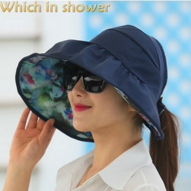 ae627c98d US $3.43 20% OFF|Which in shower Pink Purple Red Rose Beige Tan Reversible  Plain Floral Women Sun Hat Cap Two Side Floral Beach Summer Hat Gorras-in  ...