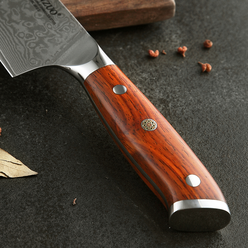 High Quality 8.5 Inch VG10 Japanese 67 Layer Stainless Steel Damascus Knife Rosewood Handle 3