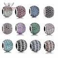 Memnon Jóias de Prata Esterlina 925 Charms Pave Bola Beads Com muitas cores CZ Para Mulheres Jóias marca Fit pulseiras DIY BE0539