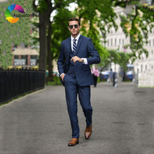 Formal Business Navy Blue Men Suits Wedding Tailored Groom Tuxedo Slim Fit Groomsmen Blazer Masculino Jacket Pant Vest 3 Pieces