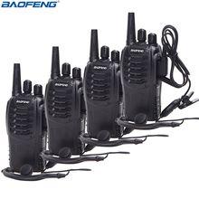 4Pcs Baofeng BF 888S Walkie Talkie UHF Two Way Radio BF888S Handheld  Radio 888S Comunicador Transmitter Transceiver+ 4 Headsets