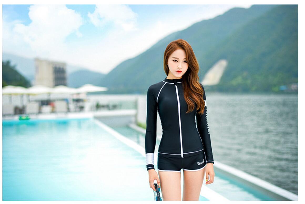 0cae9f8455 3PCS Long Sleeve Swimsuit for Women Rashguard SwimShirts Korea Swimwear  Rash Guard Short Pants Surf Uv Bodyboard-in Rash Guard from Sports &  Entertainment ...