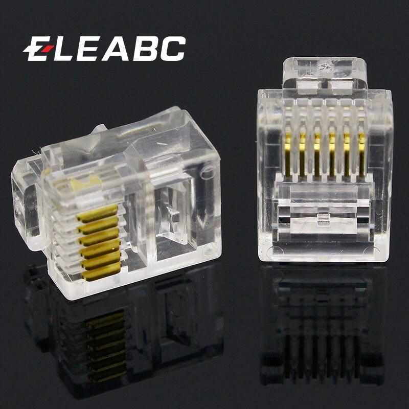 Gold-plated 10pcs RJ12 RJ11 6P6C Modular Plug DSL Telephone Connector