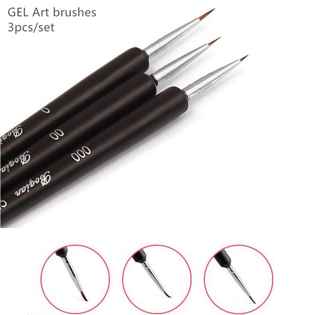 3pcsset Gel Acryl Art Brushes For Drawing Painting Manicure Nail