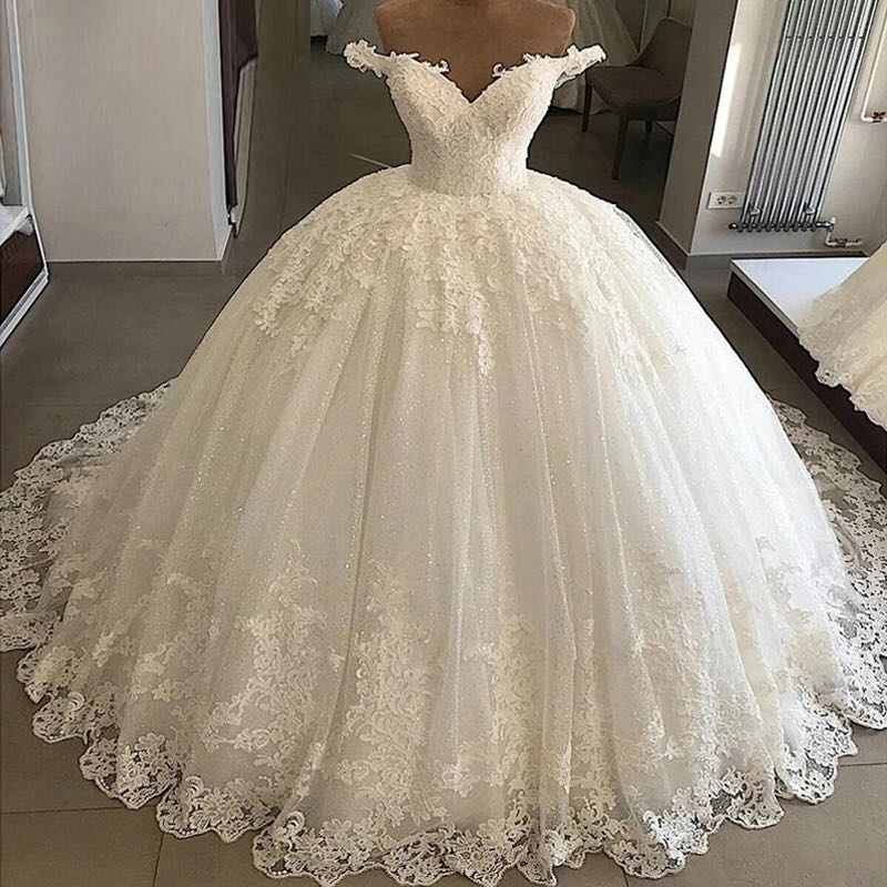 Vestidos De Novia Ball Gown 2019 Princess Wedding Dresses Lace Applique V Neck Bridal Gowns Vintage