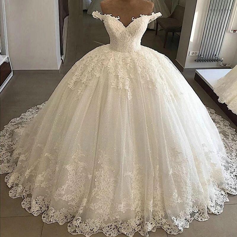 Vestidos De Novia De Baile 2019 Vestidos de Casamento Da Princesa Lace Applique V Neck Vestidos de Noiva Vintage Robe De Mariee