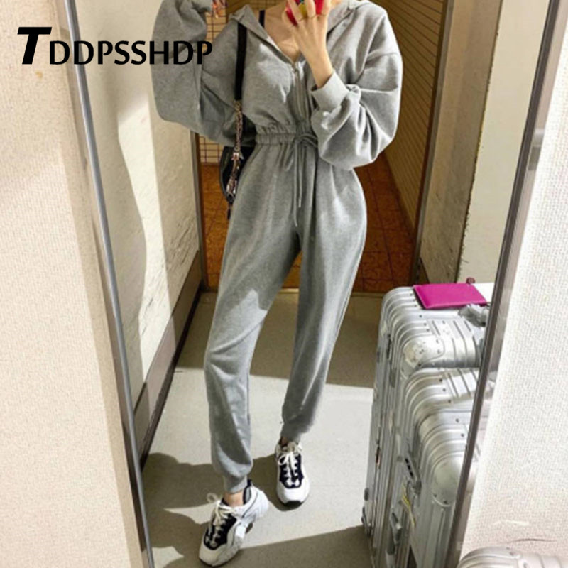 2019 Spring Casual Black White Grey Color Women Jumpsuit Do Exercise Elastic Waist Female Playsuit