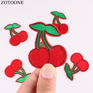ZOTOONE 10Pc Cherry Patches Sequin Iron On DIY Embroidered Appliques Sew On Stickers for Clothing Dress Bags Fruit Motif Patch F